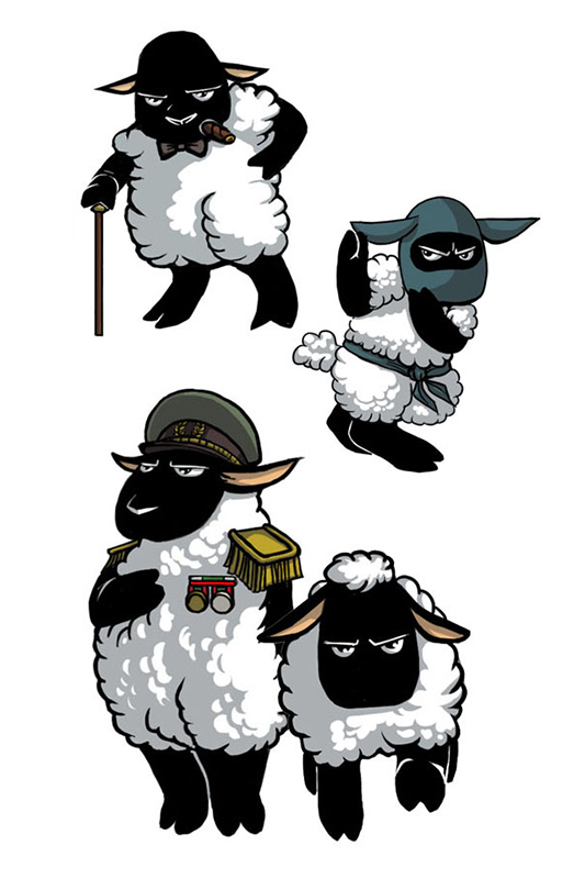Illustrations of characters for sheep based game.