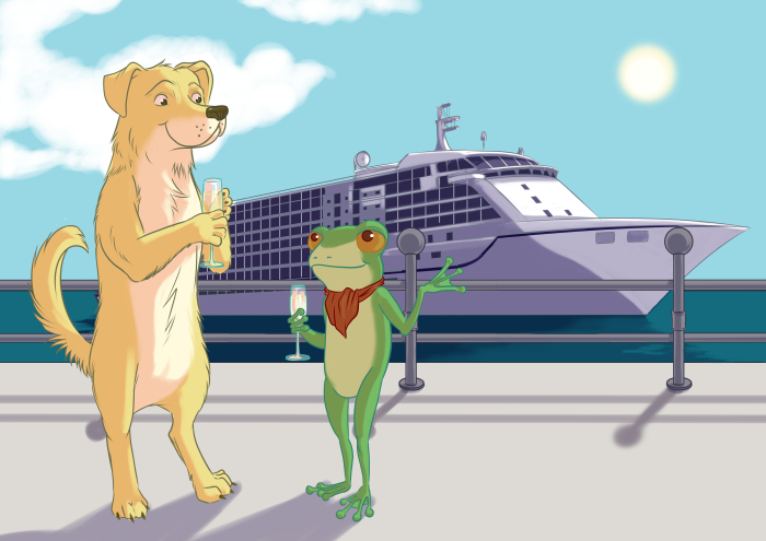 Dog and Frog illustration for cruise company